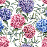 Watercolor hydrangea and eucalyptus pattern. Hand painted blue, violet, pink flowers with eucalyptus leaves and branch isolated on white background.  Nature botanical illustration for design, fabric