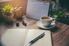Appointment Schedule Concept. Work From Home, Desktop Calendar,  Diary Place On Office Desk. Notebook For Planner To Planning Timetable,  Event Agenda,  Appointment, Organization Each  Month And Year
