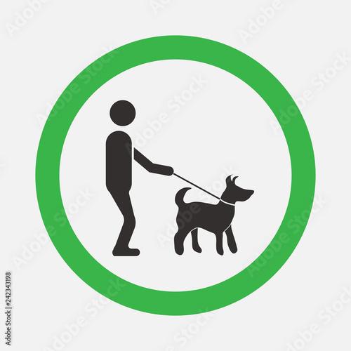 Fotografía  dog friendly signs, walks with dogs, man helper