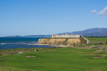 Resort And Golf Course Putting Green On The Cliffs By The Pacific Ocean, Half Moon Bay, California