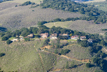 Houses Perched On A Steep Hill, Monterey Peninsula, California