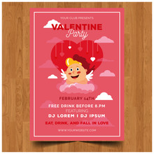 Flat Heart Valentine Party Inv...