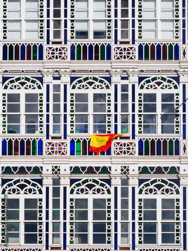 Detalle De Las Cristaleras De Las Galerías De La Marina En La Coruña Stock Photo Adobe Stock