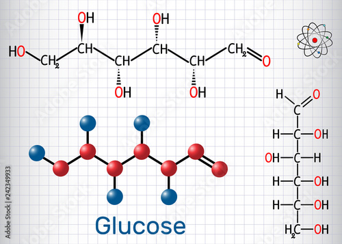 Fotografia, Obraz  Glucose (dextrose, D-glucose) molecule