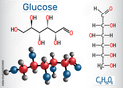 Fotografía  Glucose (dextrose, D-glucose) molecule