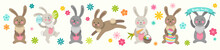 Set Of Cute Easter Cartoon Characters Rabbits And Design Elements Flowers. Easter Bunny And Flowers. Vector Illustration