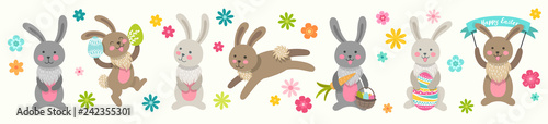 Fotografie, Obraz Set of cute Easter cartoon characters rabbits and design elements flowers