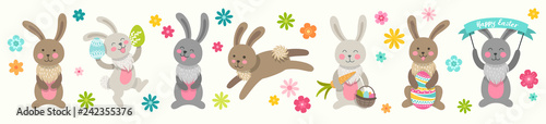 Foto Set of cute Easter cartoon characters rabbits and design elements flowers