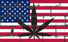 Graffiti Street Art Spray Drawing On Stencil. Cannabis Leaf On Brick Wall With Flag USA