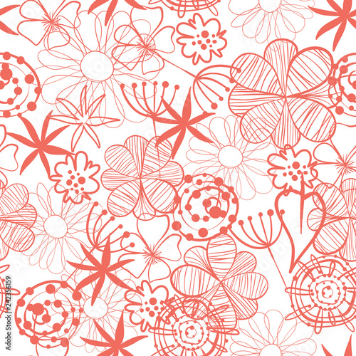 Obrazy wieloczęściowe Living coral abstract seamless pattern vector illustration