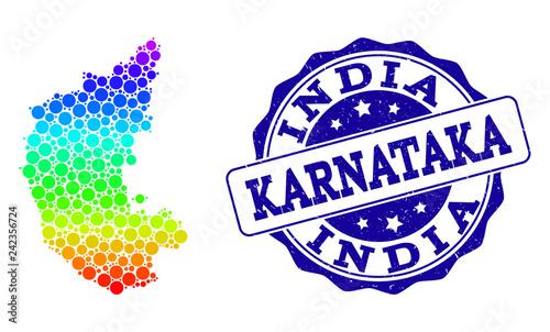 Dot spectrum map of Karnataka State and blue grunge round ... on map of delhi, map of rajasthan, map of haryana, map of bangalore, map of kashmir, map of mysore, map of yunnan province, map of hubei province, map of gujarat, map of andhra pradesh, map of orissa, map of nunatsiavut, map of mumbai, map of uttar pradesh, map of maharashtra, map of arunachal pradesh, map of india, map of west bengal, map of kerala, map of madhya pradesh,