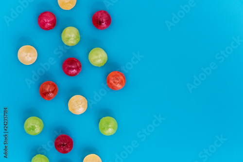 Still life of colorful spherical candies.