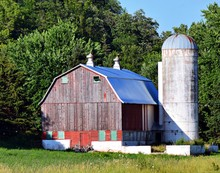 Old Red Barn And Barn