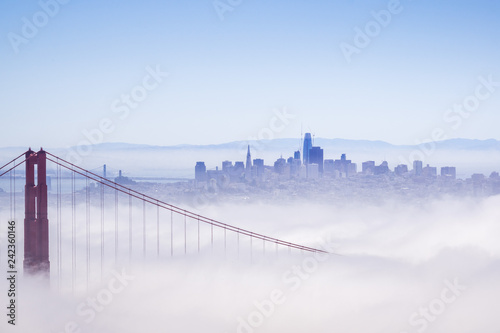 Golden Gate and the San Francisco bay covered by fog, the financial district sky Wallpaper Mural
