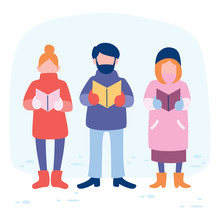 Three Female And Male People Singing Together On Winter