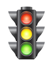 Realistic Traffic Lights For Cars And Pedestrians, Red, Yellow And Green Signal, Vector Illustration Isolated On White Background