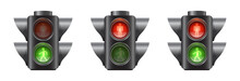 Set Of Realistic Traffic Lights For Pedestrians, Red And Green Signal, Vector Illustration Isolated On White Background