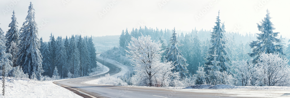 Fototapeta Winter landscape, Winter Forest,  Winter road and trees covered with snow, Germany