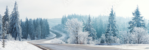 Fototapeta Winter landscape, Winter Forest,  Winter road and trees covered with snow, Germany obraz