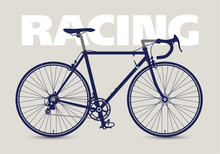 Racing Bicycle High Detailed Silhouette, Isolated And Monochrome. Vector Illustration.