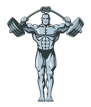 Muscle Bodybuilder Man Lifting Heavy Barbell With Knot. Vector Illustration.
