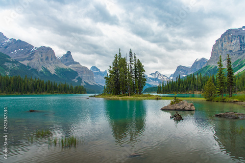 Recess Fitting Canada Canada forest landscape of Spirit Island with big mountain in the background, Alberta, Canada.