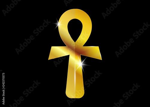 Canvas Print The gold ankh egyptian cross