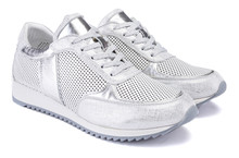 A Sport Active Silver Metallic Sneaker Isolate On White Background