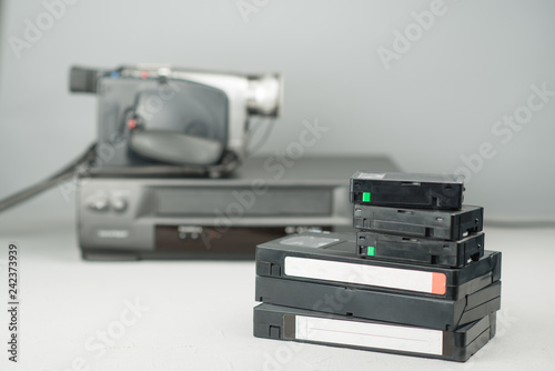 VHS videotapes, video player and video camera Fototapete