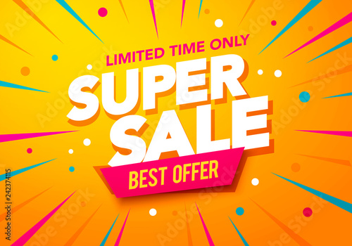 Obraz na plátně  Vector illustration super sale banner template design, Big sales special offer