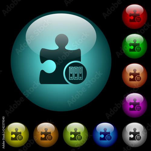 Fotografie, Obraz  Organize plugin icons in color illuminated glass buttons
