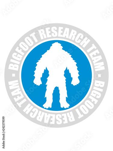 Fotografía  rund kreis stempel bigfoot research team silhouette comic yeti monster cartoon a