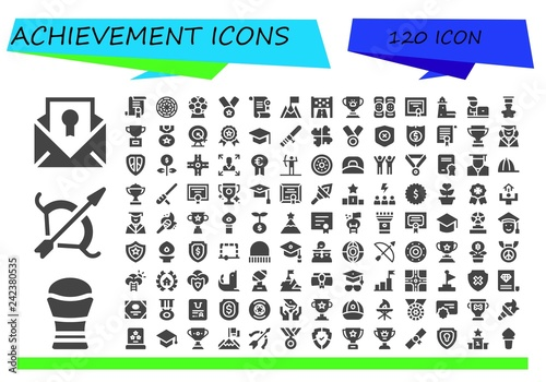 Fotografia  Vector icons pack of 120 filled achievement icons