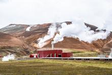 Krafla, Iceland Kroflustod Power Station Near Volcano And Lake Myvatn Using Geothermal Energy With Steam Vapor And Pipes