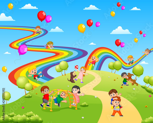Foto op Canvas Regenboog the beautiful view full of the children playing together
