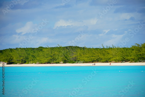Poster Tropical plage The beautiful Half Moon Bay island in Bahama and Caribbean sea ocean