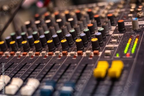 Fotografía  Audio mixer used by a DJ