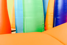 Detail Of Inflatable Castles With Shapes Of Flames Of Giant Colors