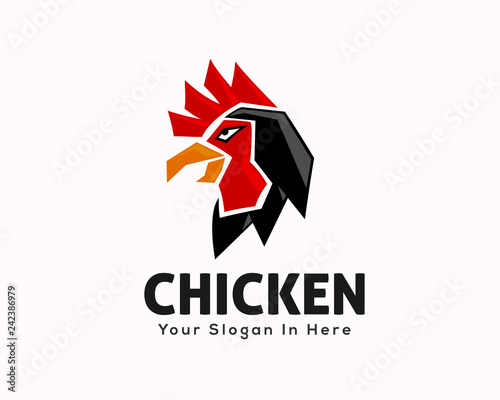 Foto modern angry rooster template logo design inspiration