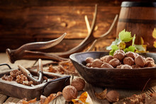 Walnuts In Shells And Nut Crac...