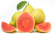 Close-up Guava Fruit, Pink, Fresh, Organic, With Leaves, Whole And Sliced, Isolated On White Background
