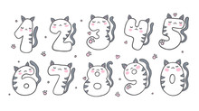 Numbers With Cartoon Cat Chara...