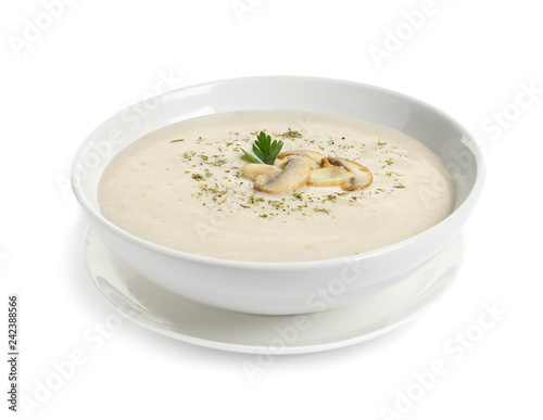 Dish with mushroom cream soup on white background. Healthy food