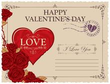 Retro Valentine Card Or Postca...