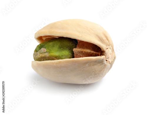 Tasty organic pistachio nut on white background, closeup