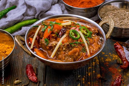 gosht masala indian food in a copper