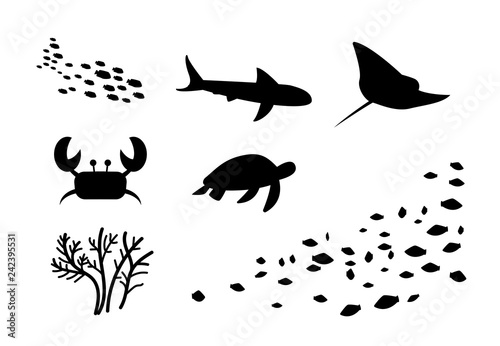 Silhouette of fish,stingray, crab, turtle, coral Wallpaper Mural