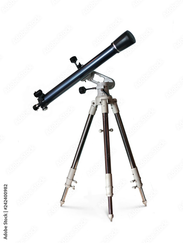 Fototapety, obrazy: Telescope standing on tripod over white background