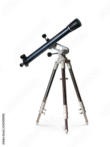 Photo  Telescope standing on tripod over white background