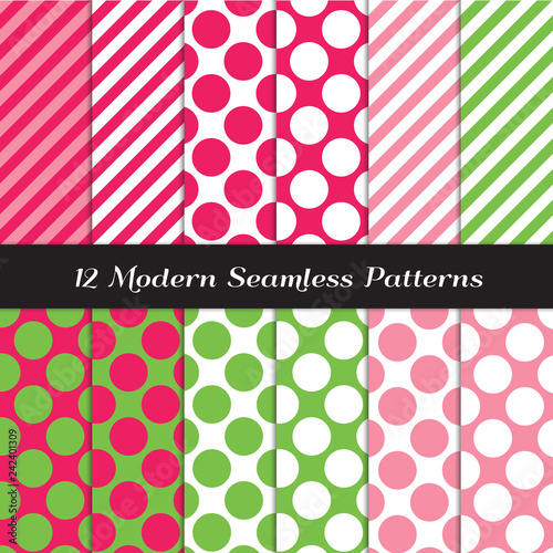 Fotografia, Obraz Strawberry Pink, Green and White Jumbo Polka Dots and Candy Stripes Seamless Vector Patterns